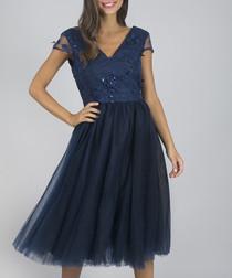 Cosette navy sheer detail V-neck dress