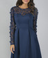 Noelle navy feathered sheer dress Sale - chi chi london Sale