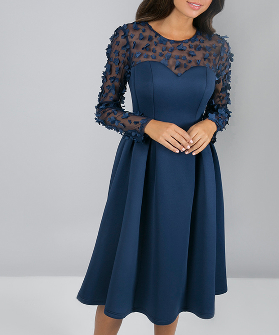 Noelle navy feathered sheer dress Sale - chi chi london