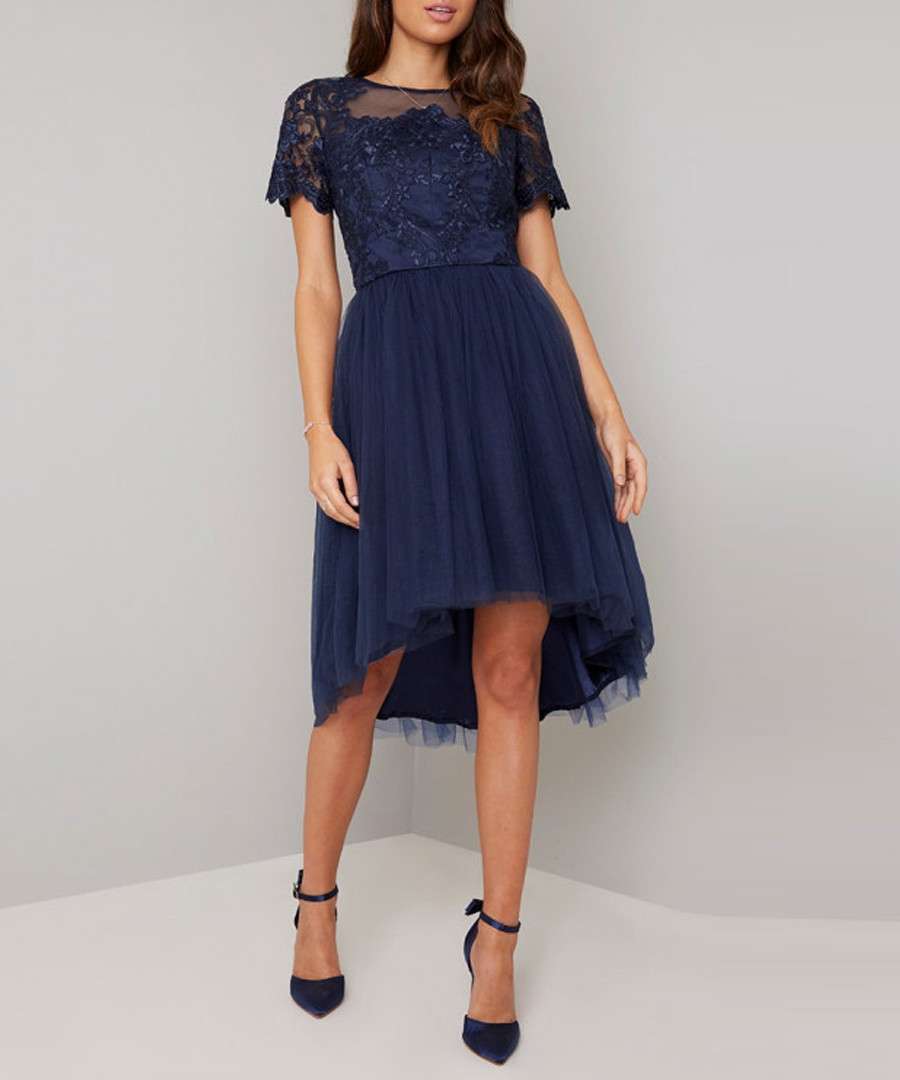 Anya navy feathered short sleeve Dress Sale - chi chi london