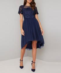 Anya navy feathered short sleeve Dress