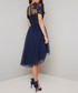 Anya navy feathered short sleeve Dress Sale - chi chi london Sale