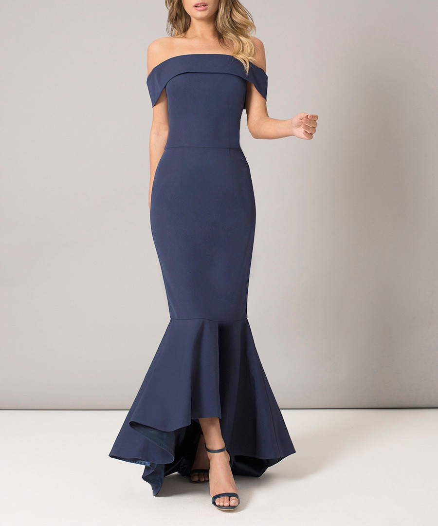 Chicago navy fluted dress Sale - chi chi london