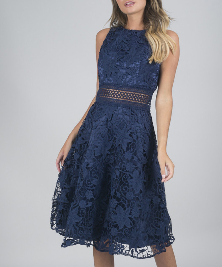 Christia navy sleeveless lace dress Sale - chi chi london