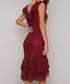 Savannah crimson V-neck tier Dress Sale - chi chi london Sale