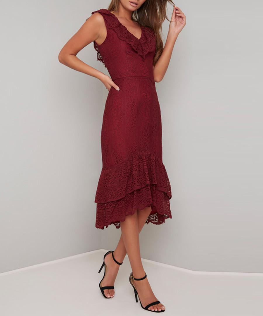 Savannah crimson V-neck tier Dress Sale - chi chi london