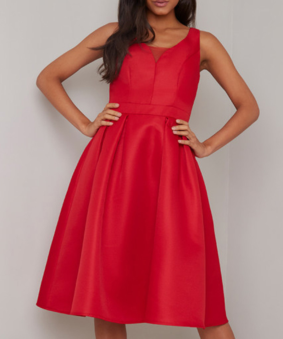 Posy scarlet red sleeveless Dress Sale - chi chi london