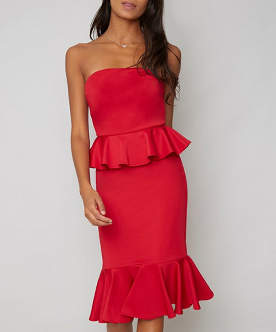 Arya red one-shoulder ruffle Dress Sale - chi chi london