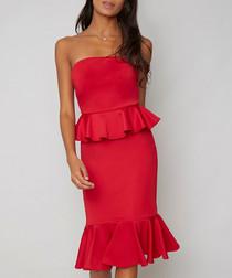 Arya red one-shoulder ruffle Dress