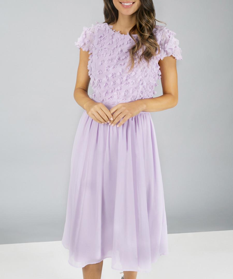Kiara lilac lace midi Dress Sale - chi chi london