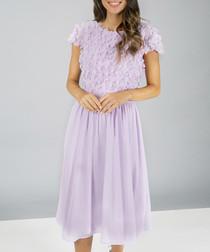 Kiara lilac lace midi Dress