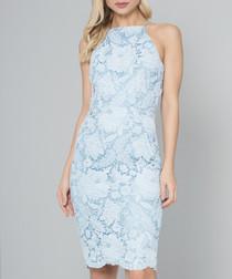 Deshara aqua sleeveless lace Dress