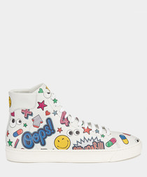 Wink Stickers white leather high tops