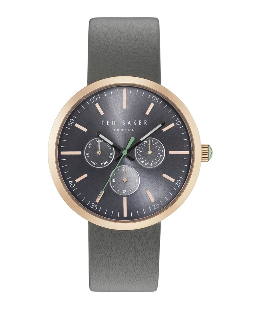 Gold-tone & grey leather watch Sale - ted baker