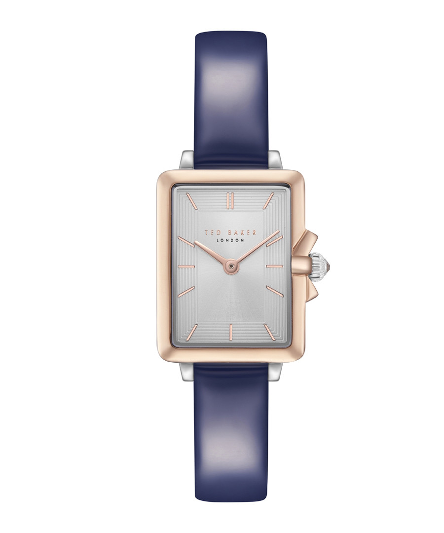 Gold-tone & navy leather watch Sale - ted baker