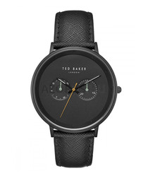 All-black numberless leather watch