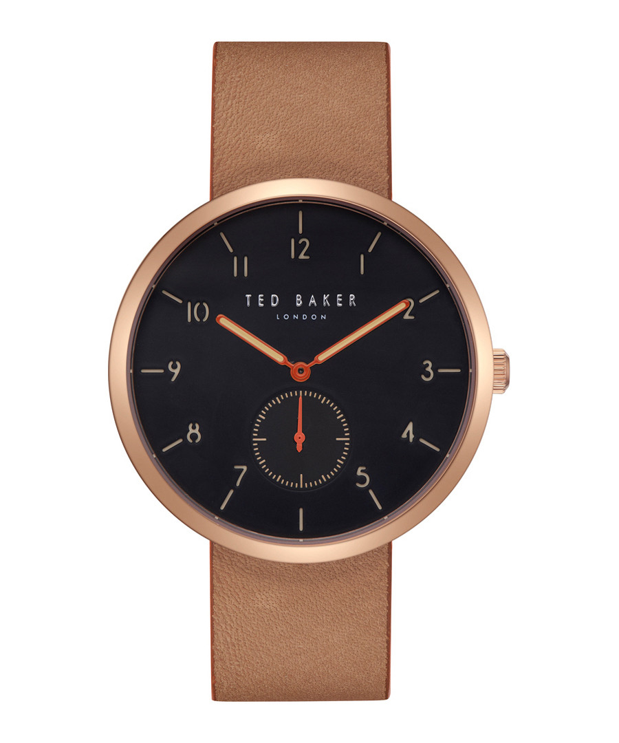 Rose gold-tone & brown leather watch Sale - Ted Baker