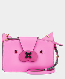 Pouch Fox magenta leather zip crossbody