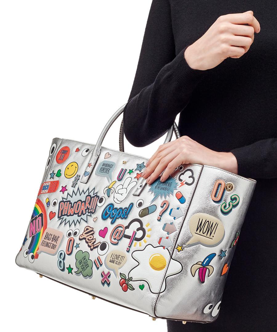 Wink Stickers silver-tone goatskin bag Sale - anya hindmarch