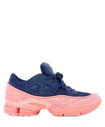 Blue fabric sneakers with blue leather inserts