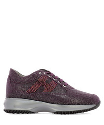 Interactive purple leather sneakers