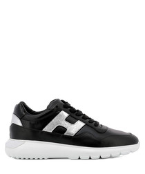 Interactive3 black leather sneakers