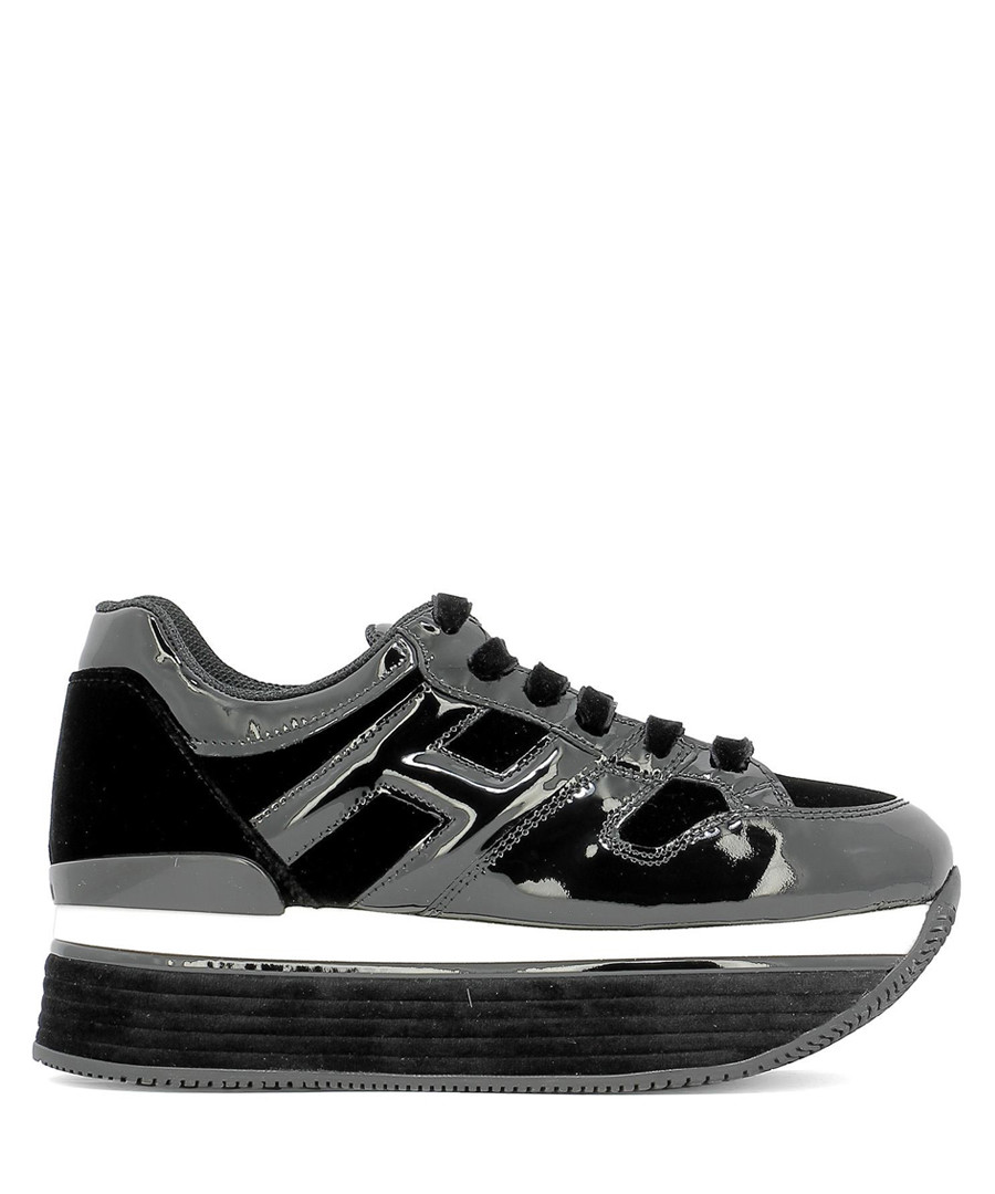 H379 black velvet & leather sneakers Sale - hogan