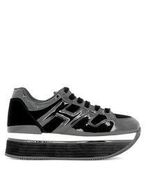 H379 black velvet & leather sneakers