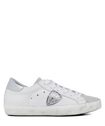 Paris white leather & suede sneakers