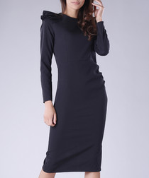 Black long sleeve shoulder detail dress