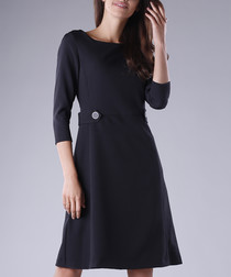 Black 3/4 sleeve minimal button dress