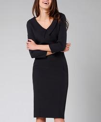 Black 3/4 sleeve V-neck dress