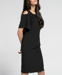 black shoulder cut-out dress