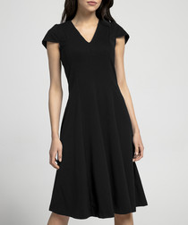 black V-neck short sleeve dress