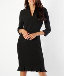 black V-neck ruffle dress