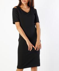 black V-neck short sleeve dress