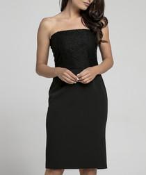 black strapless minimal dress