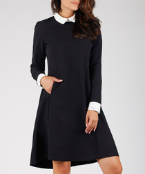 black & white collar long sleeve dress