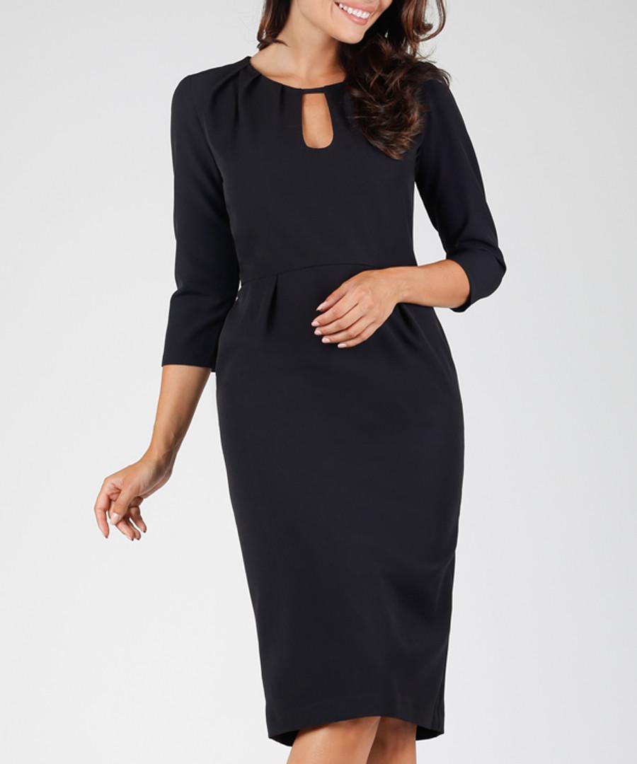 black 3/4 sleeve cut-out dress Sale - NAOKO