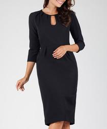 black 3/4 sleeve cut-out dress