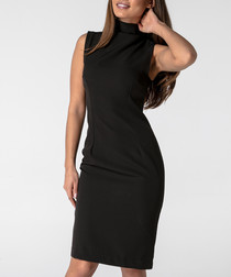 black high neck sleeveless dress