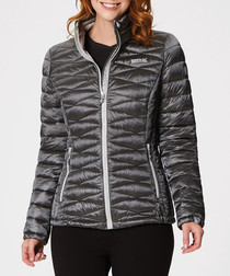 Women's charcoal diagonal padded jacket