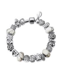 charm rhodium-tone & swarovski bracelet