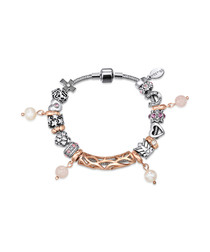 charm rhodium & Swarovski bracelet
