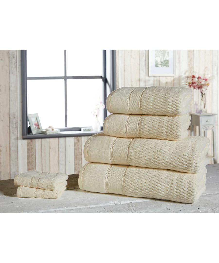 6pc cream pure cotton towel set Sale - royal velvet