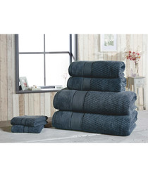 6pc navy pure cotton towel bale