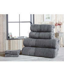 6pc grey pure cotton towel set