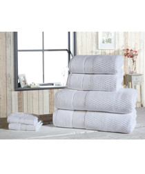6pc white pure cotton towel set