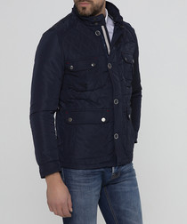 Navy button padded coat