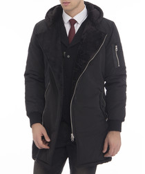 Navy longline padded jacket